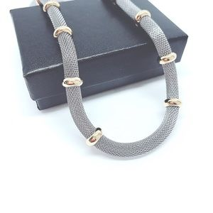 Jewelry - Two-Tones Rhodium/ 18K Gold Plated Statement Chain